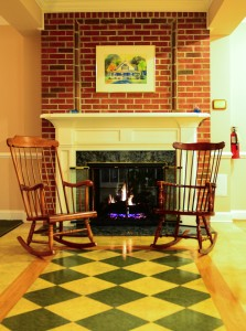 Fireplace and Rocking Chairs in the family area.