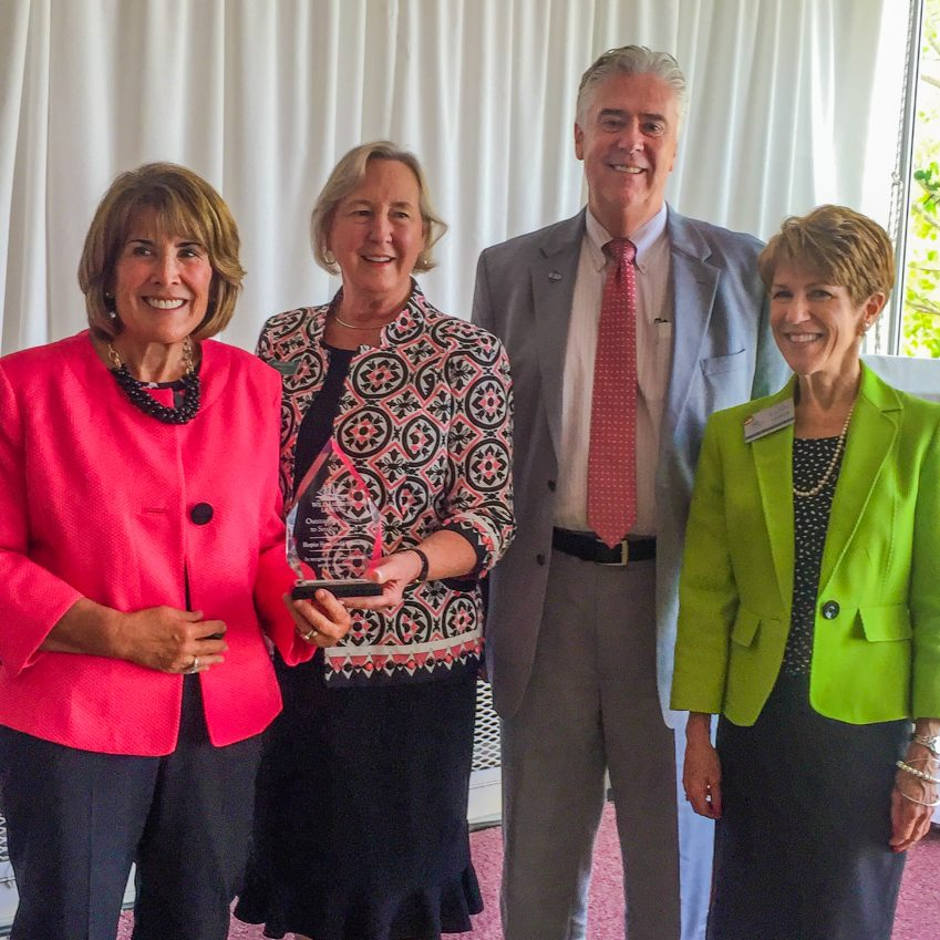 """Hospice House & Support Care of  Williamsburg, Guild President Bernice Todd and Volunteer Carol Occhuizzo accept """"Outstanding Service to Seniors Award"""" from Williamsburg Landing President Gregory Storer        at the Community Foundation Grant Award luncheon on April 19,2017"""
